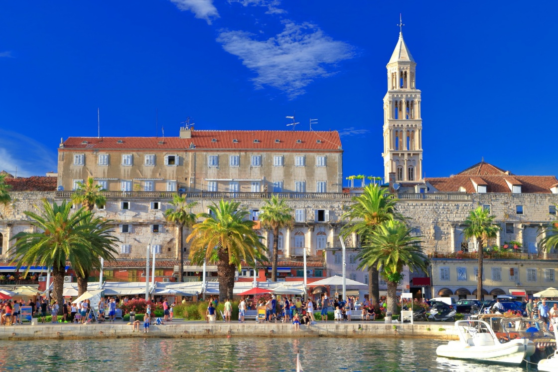 'Venetian church tower and the Palace of Diocletian on the Adriatic sea coast, Split, Croatia' - Split